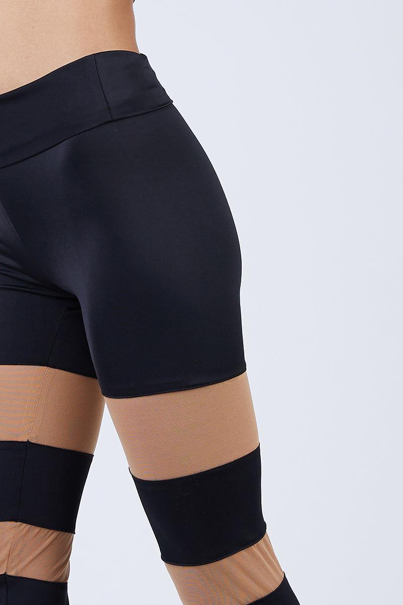 NORMA KAMALI Sheer Block Leggings - Black Leggings   Black  Norma Kamali Sheer Block Leggings - Black High waisted leggings  Sheer mesh inserts  Close View