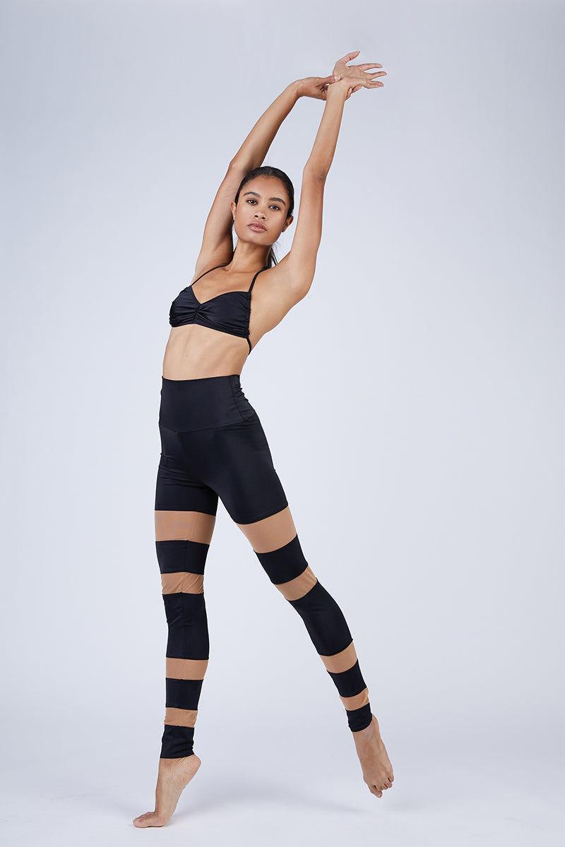 NORMA KAMALI Sheer Block Leggings - Black Leggings   Black  Norma Kamali Sheer Block Leggings - Black High waisted leggings  Sheer mesh inserts  Front View