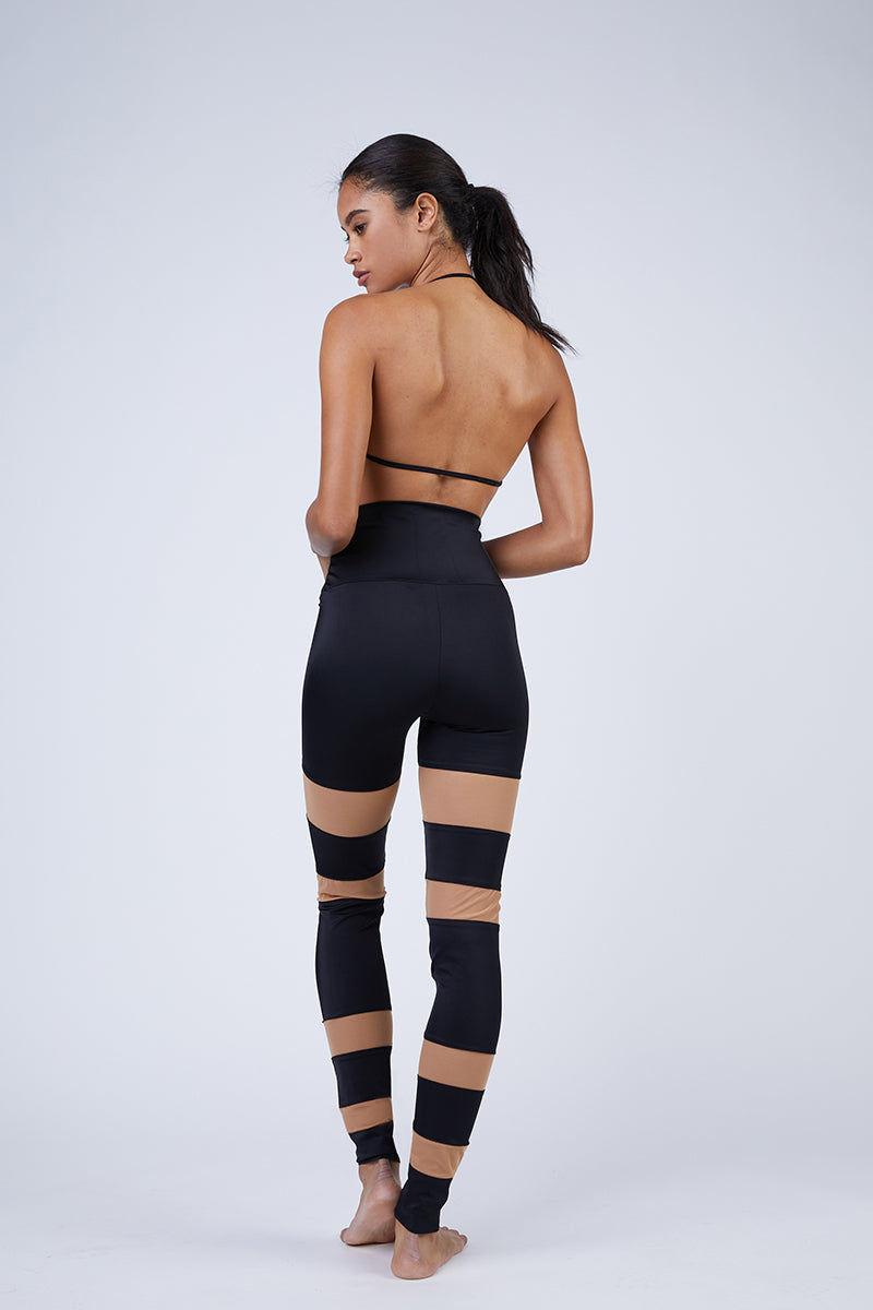 NORMA KAMALI Sheer Block Leggings - Black Leggings   Black  Norma Kamali Sheer Block Leggings - Black High waisted leggings  Sheer mesh inserts  Back View