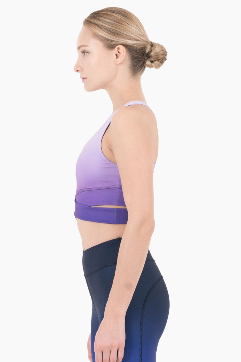 NYLORA Mercer Cropped Tank - Violet Ombre Top | Violet Ombre| Nylora Mercer Cropped Tank - Violet Ombre Cropped tank top  Scoop neckline Criss cross detail  Racerback Side View