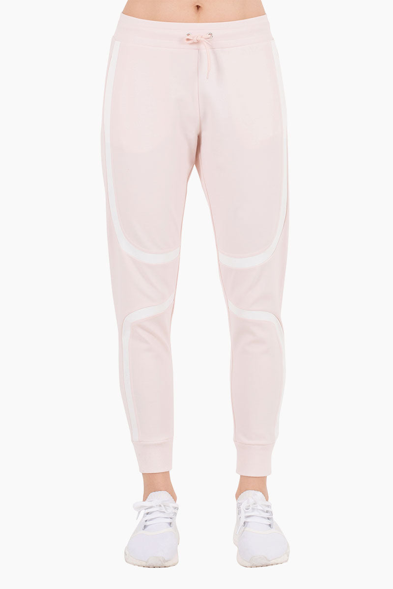 NYLORA Greenville Striped High Waisted Drawstring Sweatpants - Blush Pants | Blush| Nylora Greenville Pants - Blush Jogger pants Drawstring waistband  Side pockets  Back patch pocket  Fitted through tapered legs Front View