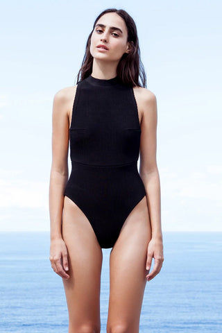 HAIGHT Kate Knit High Neck One Piece Swimsuit - Black One Piece | Black| Haight Kate Knit High Neck One Piece Swimsuit - Black High neckline  Side boob  High cut leg  Cheeky coverage  Front View