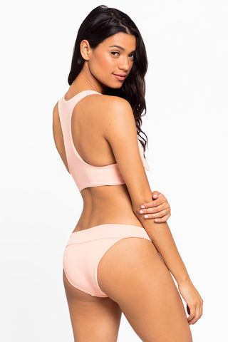L SPACE Veronica Thick Band Bikini Bottom - Cherry Blossom Pink Bikini Bottom | Cherry Blossom Pink| L Space Veronica Thick Band Bikini Bottom - Cherry Blossom Pink Mid-rise banded ribbed cheeky bikini bottom in cherry blossom pink. Back View