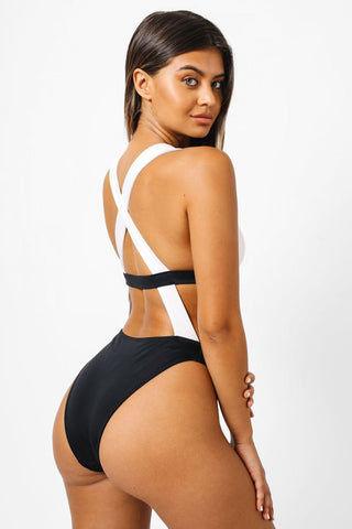 db521e8250a13 KAOHS Sofia Color Block Monokini Criss Cross Back One Piece Swimsuit -  Black   White One ...