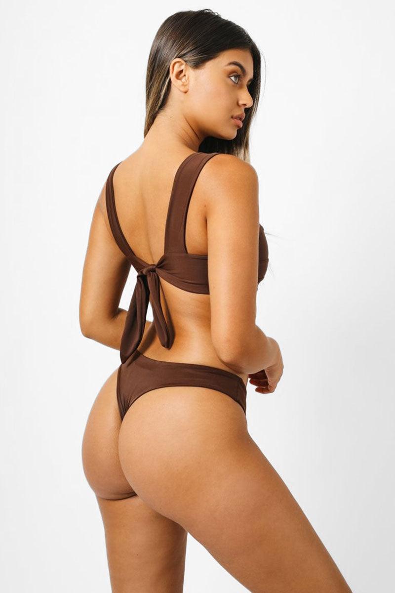 KAOHS Hampton Back Tie Bikini Top - Chocolate Brown Bikini Top | Chocolate Brown| Kaohs Hampton Back Tie Bikini Top - Chocolate Brown Square neckline  Thick shoulder straps Back tie closure  Back View