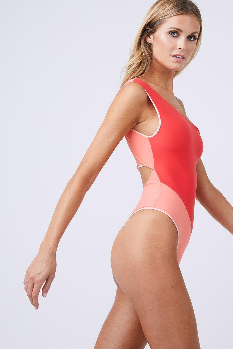 5877e7afe52 SEBASTIEN Romy Muti One Shoulder One Piece Swimsuit - Orange/Red One Piece    Orange ...