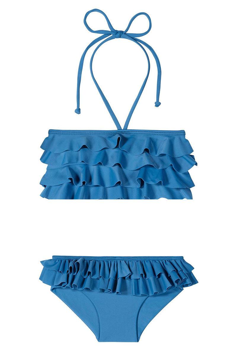 MIKOH MINI Pearl Top & Santiago Bottom - Kids Kids Bikini | Dusk| Mikoh Mini Pearl Top & Santiago Bottom Kids Blue Bikini Top and Bikini Bottom Bandeau Style Adjustable Halter Ties Ruffle Overlay Full Rear Coverage