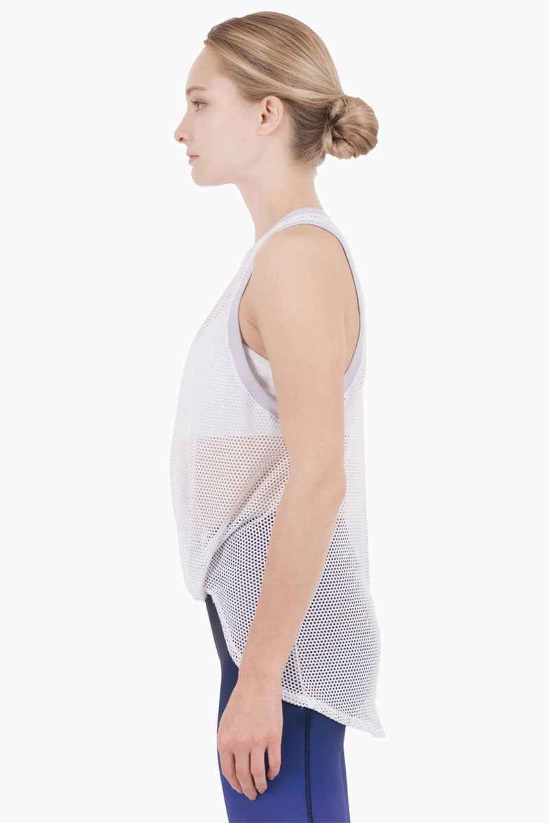 NYLORA Ethan Mesh Color Block Front Knot Tank - White/Lilac Purple Top | White/Lilac Purple| Nylora Ethan Mesh Color Block Front Knot Tank - White/Lilac Purple See through tank top  Front knot tie  Racerback Front View