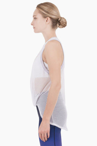 NYLORA Ethan Front Knot Tank - White/Lilac Top | White/Lilac| Nylora Ethan Front Knot Tank - White/Lilac See through tank top  Front knot tie  Racerback Side View