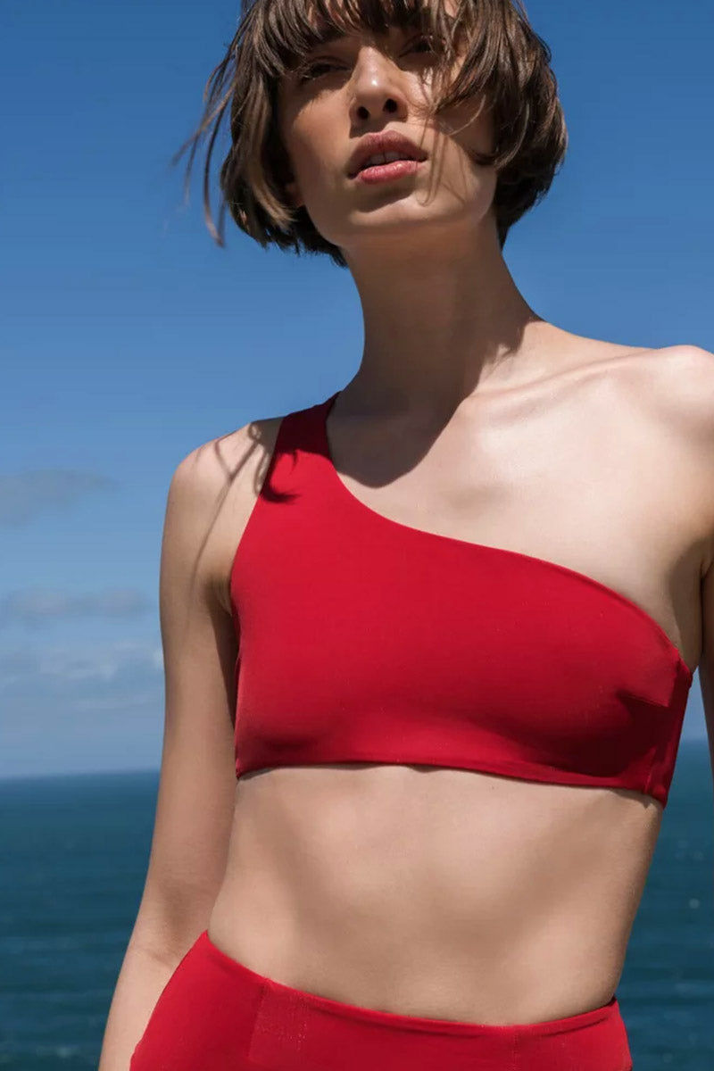 HAIGHT Perlin One Shoulder Bikini Top - Cherry Red Bikini Top | Cherry Red| Haight Perlin One Shoulder Bikini Top - Cherry Red One shoulder Thick asymmetric strap Front View