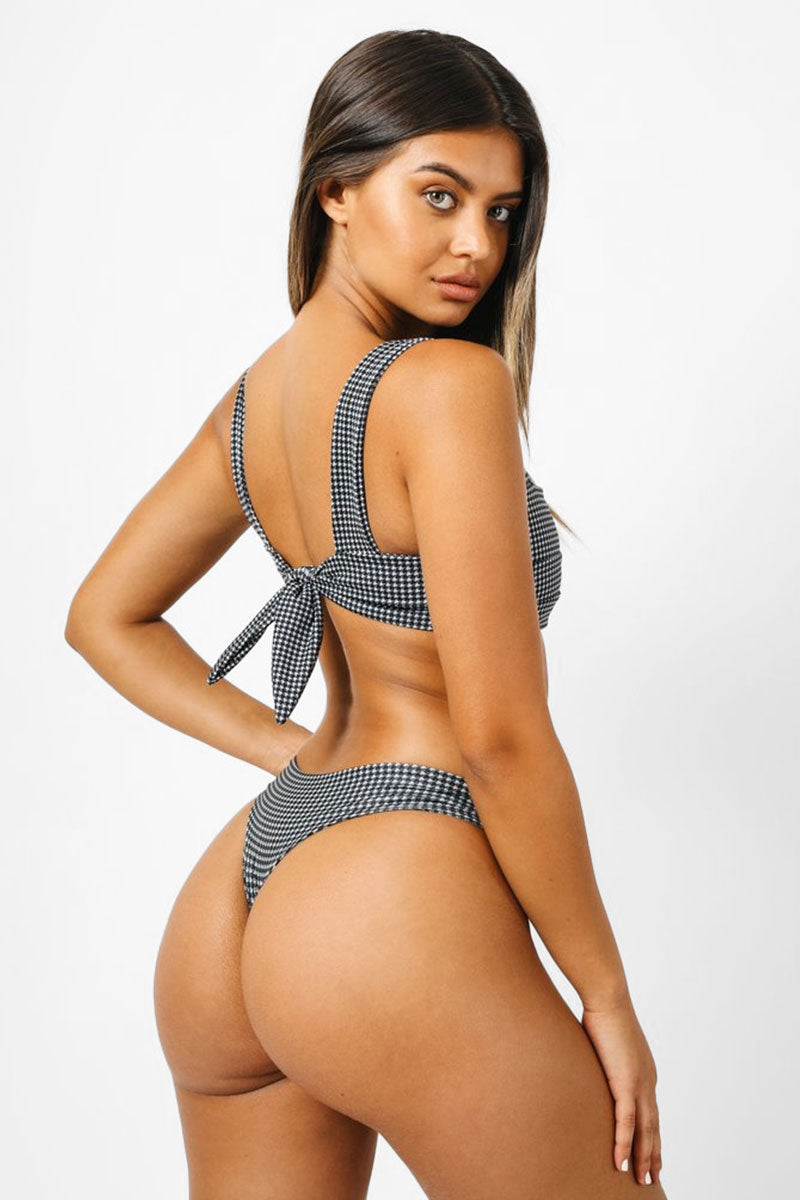 KAOHS Salty Low Rise Bikini Bottom - Houndstooth Print Bikini Bottom | Houndstooth Print| Kaohs Salty Low Rise Bikini Bottom - Houndstooth Print Low rise Thick waistband Cheeky coverage Back View