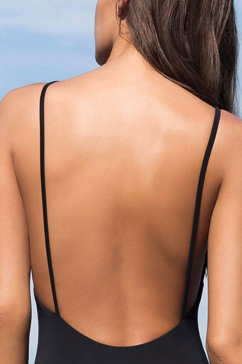 HAIGHT Thin Strap One Piece Swimsuit - Black One Piece | Black| Haight Thin Strap One Piece Swimsuit - Black Scoop neckline  Thin back straps  Cheeky coverage  Back View