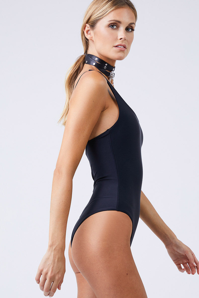 JADE SWIM Apex One Shoulder One Piece Swimsuit - Black One Piece | Black|Jade Swim Apex One Shoulder One Piece Swimsuit - Black  Asymmetrical One Shoulder One Piece Swimsuit Classic Black Thin Double Back Straps Cheeky to Moderate Coverage Side View