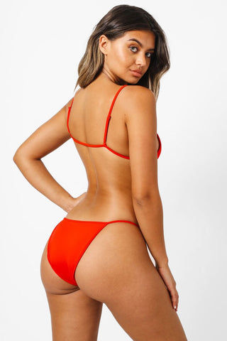 KAOHS Kelly Triangle Bikini Top - Red Bikini Top | Red| Kaohs Kelly Triangle Bikini Top - RedTriangle  Adjustable thin shoulder straps  Thin back band  Back View