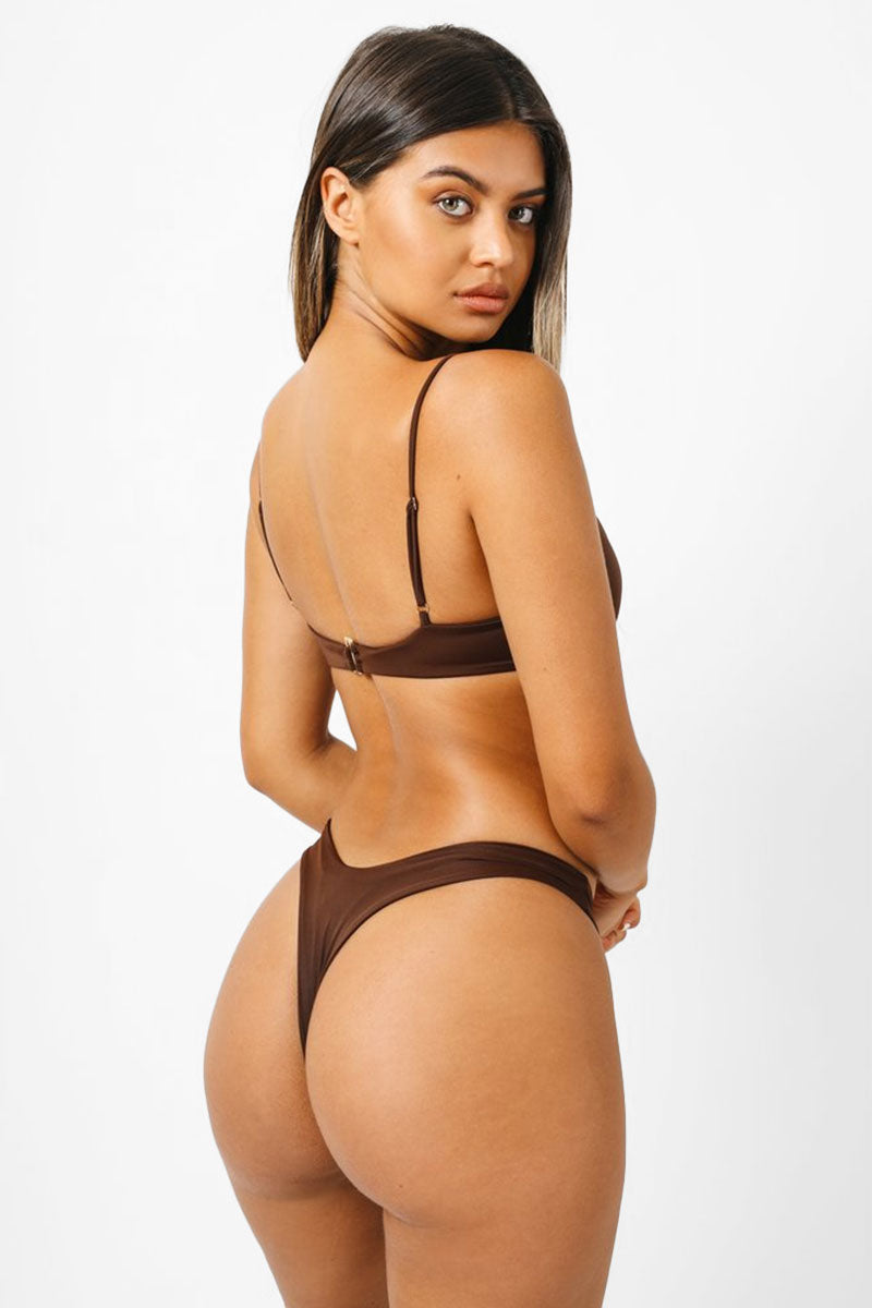 KAOHS Bella Thong Bikini Bottom - Chocolate Brown Bikini Bottom   Chocolate Brown  Kaohs Bella Thong Bikini Bottom - Chocolate Brown  Low Rise High cut leg Wide waistband thong coverage  Back View