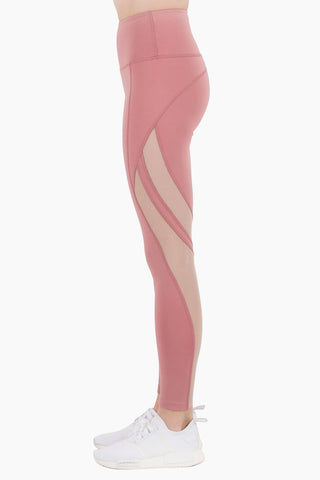 NYLORA Scarlett High Waisted Mesh Cut Out Leggings - Dusty Pink/Peony Pants | Dusty Pink & Peony Combo| Nylora Scarlett Leggings - Dusty Pink & Peony Combo. Features: Sheer mesh for ventilation and contouring effect High waisted Formfitting Pull-on style Nylon/spandex Front View