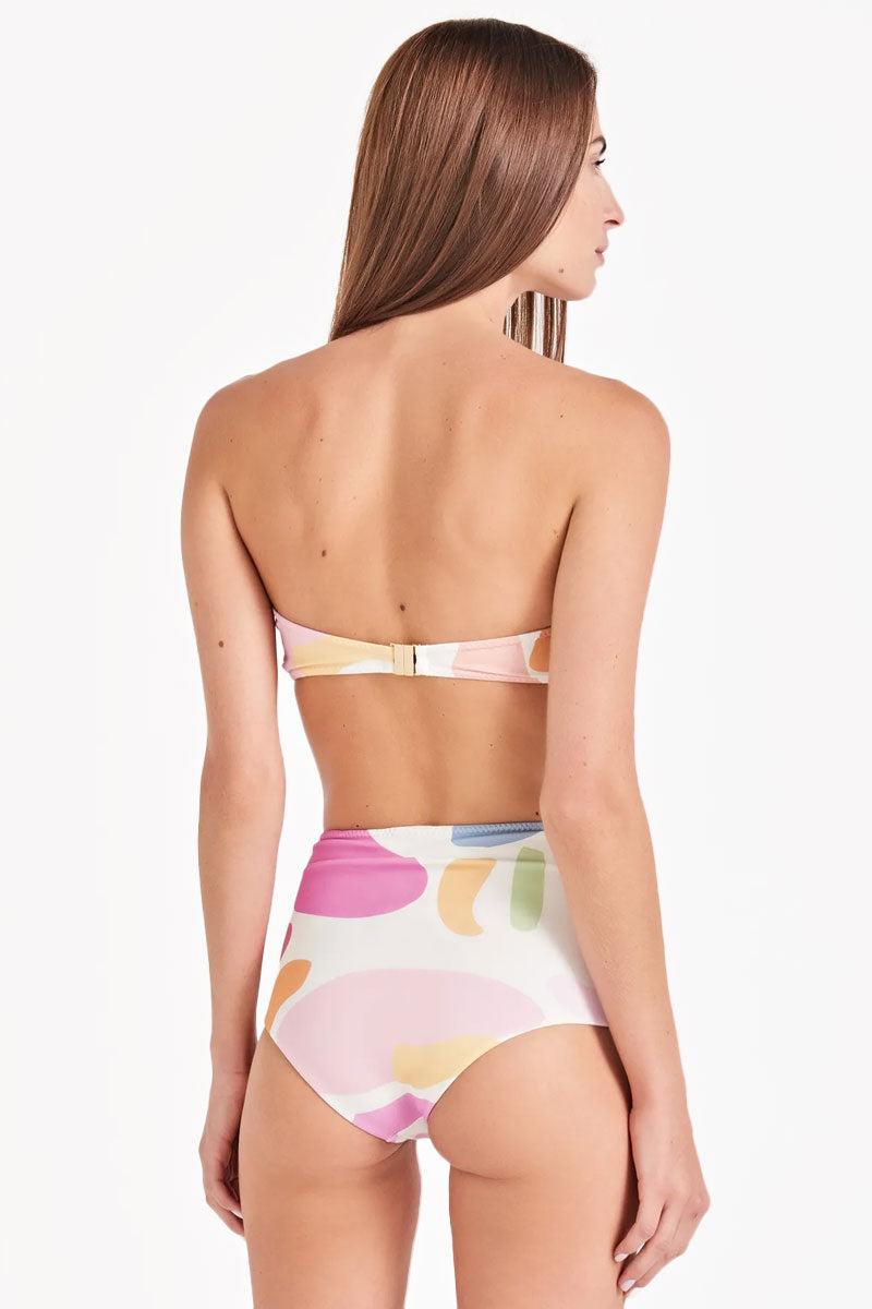TRIYA Bojo Faxia Bandeau Bikini Top - Artsy Color Print Bikini Top | Artsy Color Print| Triya Bojo Faxia Bandeau Bikini Top - Artsy Color Print  Bandeau bikini top  Removable strap  Back clasp closure Back View