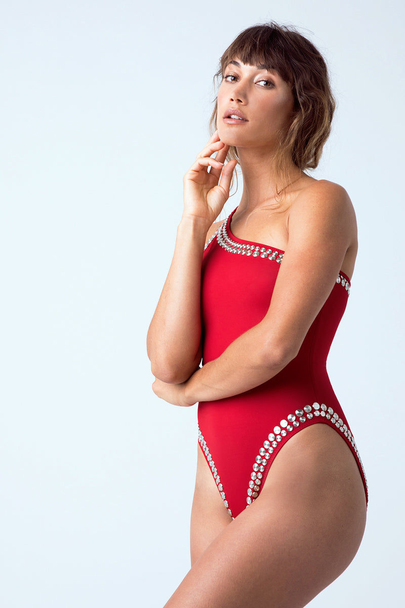 a7d05db0185ec ... NORMA KAMALI Stud One Shoulder Mio One Piece Swimsuit - Red One Piece