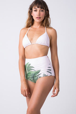 TRIYA Triangle Top - Mato Pink Palm Bikini Top | Mato Pink Palm| Triya Triangle Top - Mato Pink Palm Front View  Triangle Top  Halter Neck Tie  Ties at Center Back  Produced in Brazil  Hand wash, cold and dry