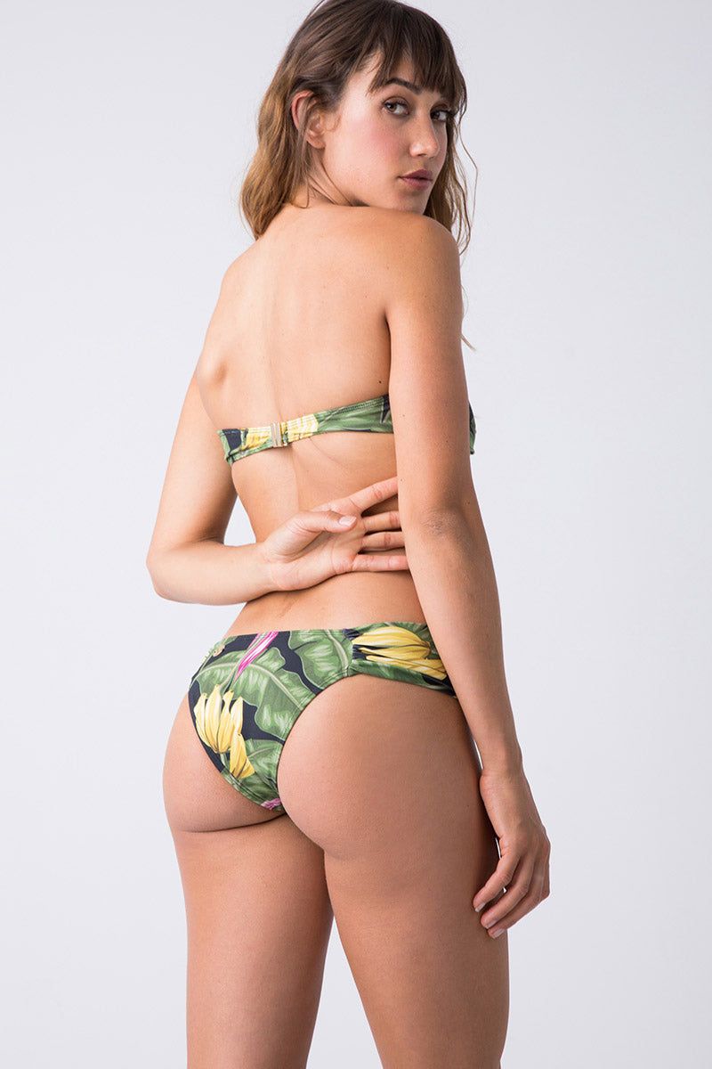 TRIYA Bebel Bandeau Bikini Top - Bananeira Bikini Top   Bananeira  Triya Bebel Bandeau - Bananeira Back View Bandeau Bikini Top  Twisted Front Detail  Clasp Closure  Black Tropical Print