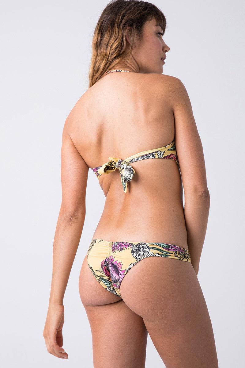 TRIYA Hipster Ruched Bikini Bottom - Floral Tropical Bikini Bottom | Floral Tropical| Triya Hipster Bottom - Floral Tropical Back View
