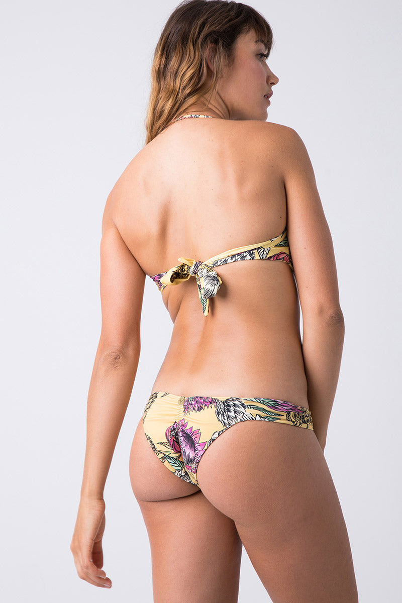 TRIYA Looped Metal Bandeau Bikini Top - Floral Tropical Bikini Top | Floral Tropical| Triya Looped Metal Bandeau Top - Floral Tropical Back View  Bandeau Top  Sweetheart Neckline  Vertical Metal Detail  Back Tie Closure Produced in Brazil Hand wash, cold and dry