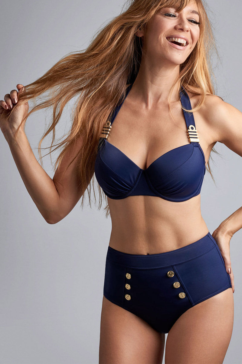 MARLIES DEKKERS Padded Push Up Bikini Top - Royal Navy Bikini Top | Royal Navy| MARLIES DEKKERS Padded Push Up Bikini Top - Royal Navy. Features:  The gold colored & maritime inspired ornaments radiate luxury The padded cups give you extra support and the pleats accentuate your curves Handle this beautiful bikini top with care and wash it by hand Materials: 82% nylon 18% spandex | nickel free Care information: hand wash do not rub, wash with similar colours, wash in laundry bag, do not bleach, do not iron, do not dry clean, do not tumble dry Front View