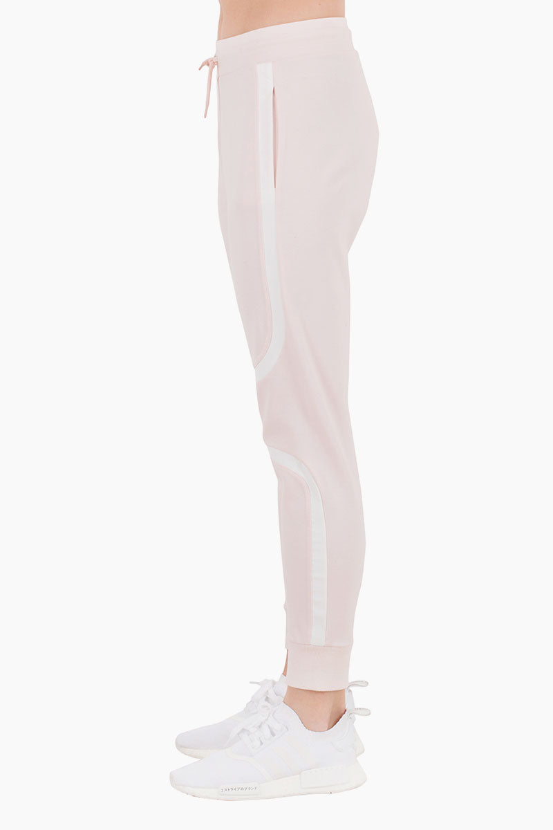 NYLORA Greenville Striped High Waisted Drawstring Sweatpants - Blush Pants | Blush| Nylora Greenville Pants - Blush Jogger pants Drawstring waistband  Side pockets  Back patch pocket  Fitted through tapered legs Side View