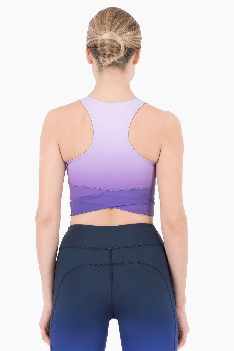 NYLORA Mercer Cropped Tank - Violet Ombre Top | Violet Ombre| Nylora Mercer Cropped Tank - Violet Ombre Cropped tank top  Scoop neckline Criss cross detail  Racerback Back View