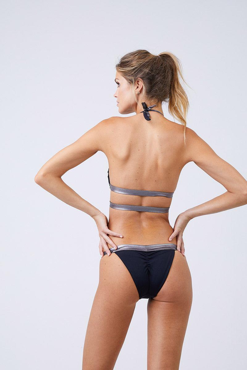 MOEVA Olivia Thick Waistband Bottom - Black/ Silver Bikini Bottom | Black/Silver| Moeva Olivia Thick Waistband Bottom Back View