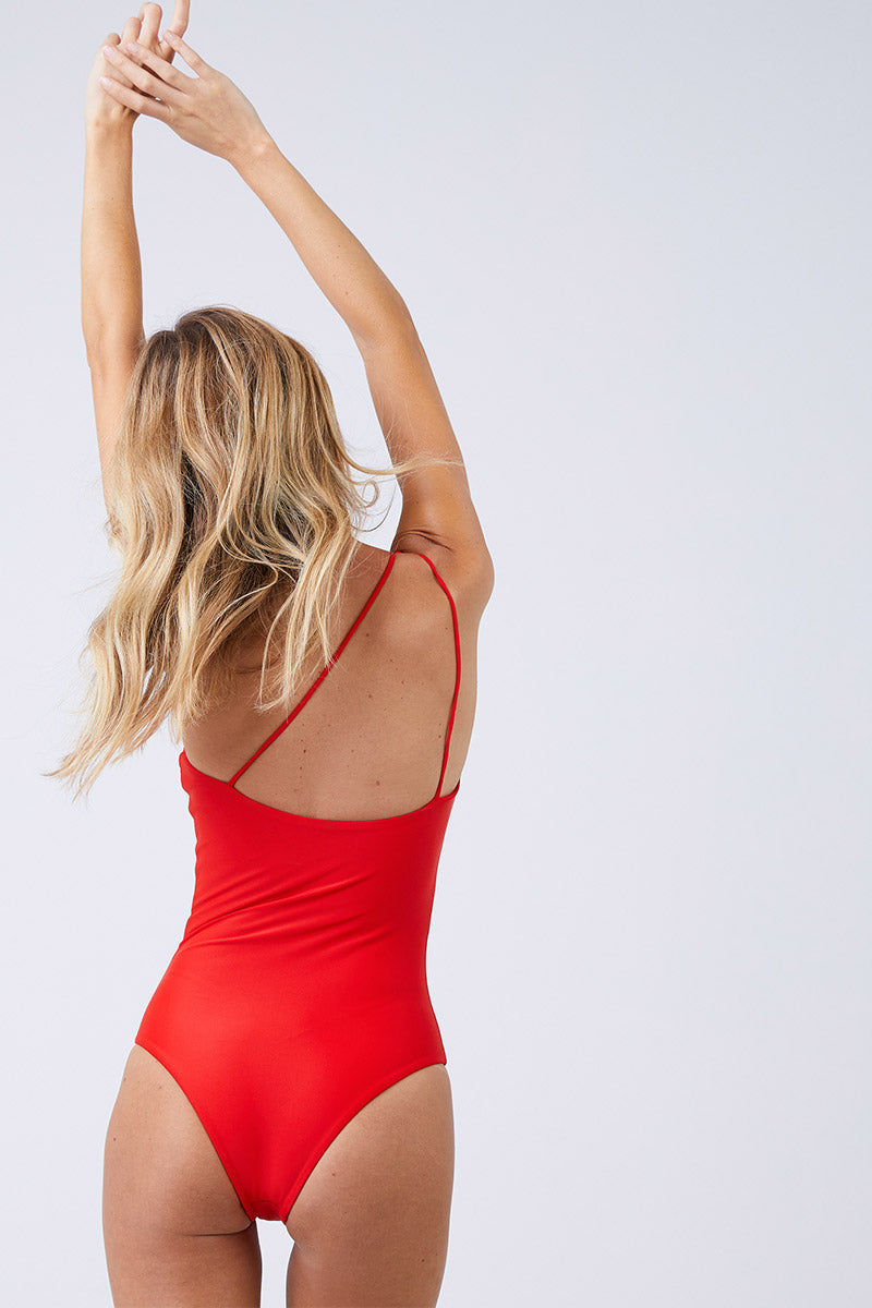 JADE SWIM Apex One Shoulder One Piece Swimsuit - Lava One Piece | Lava| Jade Swim Apex One Shoulder One Piece Swimsuit - Lava Flatlay View One Shoulder Asymmetrical High Cut Leg Moderate Coverage  Back View