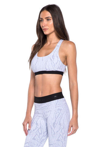 KORAL Tax Banded Sports Bra - White Galaxy Activewear | White Galaxy| KORAL Galaxy Tax Sports Bra Side View