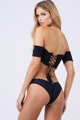391e30d119e ... PILYQ Smocked Off Shoulder Bikini Top - Black Bikini Top | Black| PilyQ  Smocked Off ...