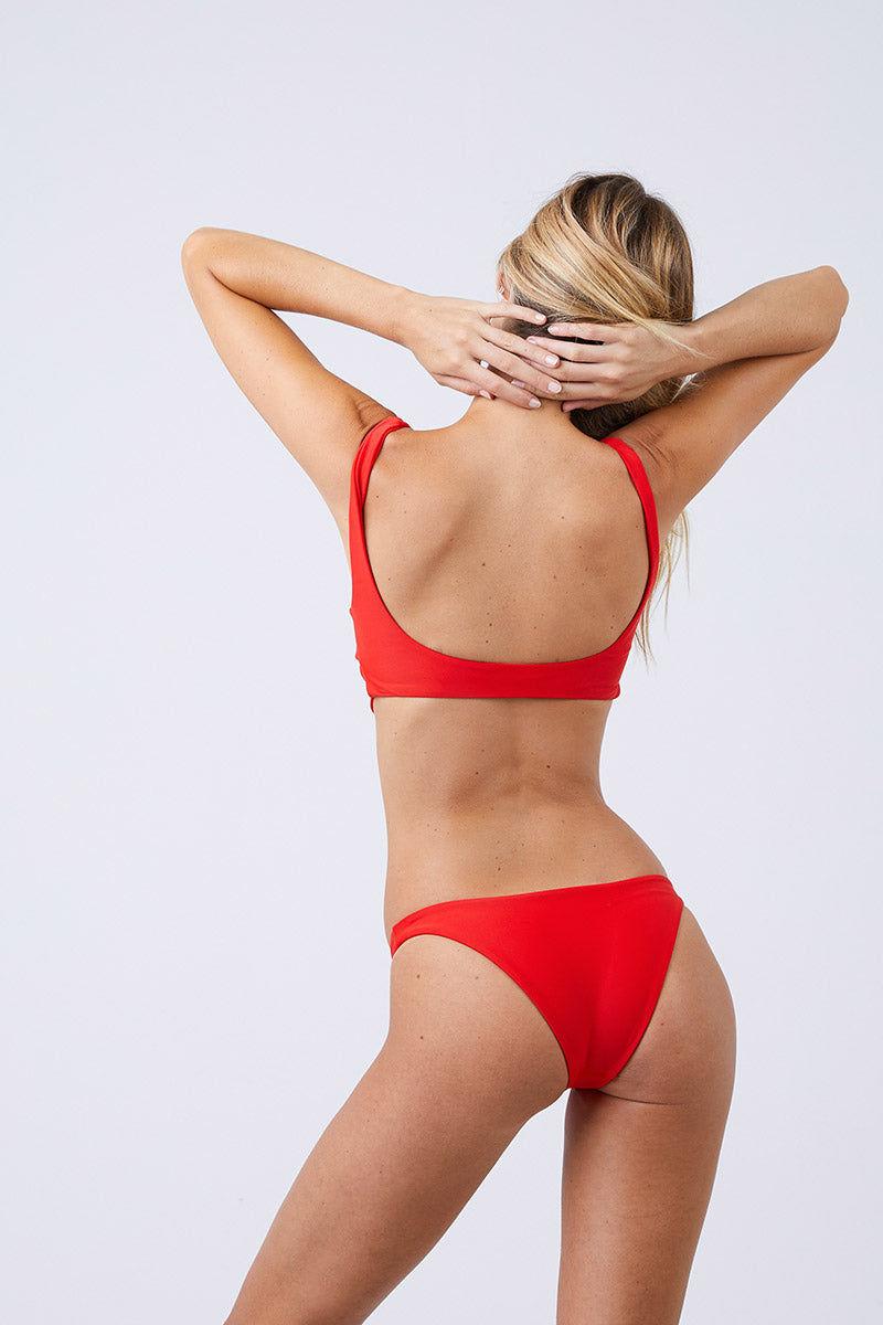 JADE SWIM Most Wanted Classic Bikini Bottom - Lava Bikini Bottom | Lava| Jade Swim Most Wanted Classic Bikini Bottom - Lava  Low Rise High Cut Leg Cheeky Coverage Pull On Back View