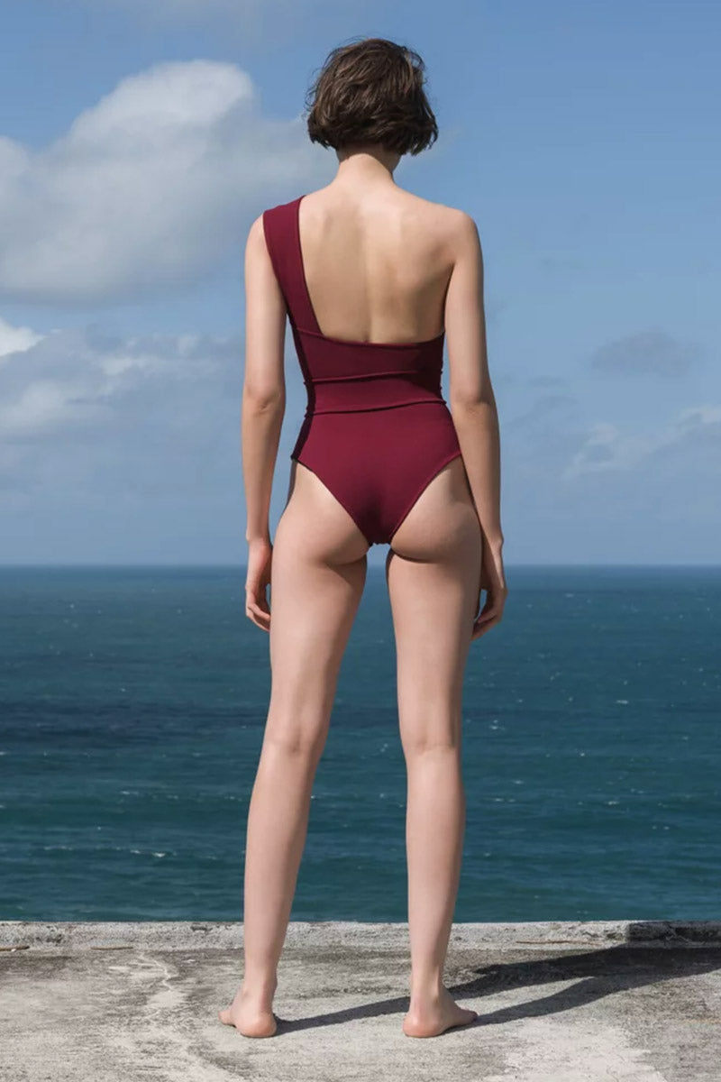 7f588c27af ... HAIGHT Maria One Shoulder One Piece Swimsuit - Garnet Red One Piece | Garnet  Red| ...