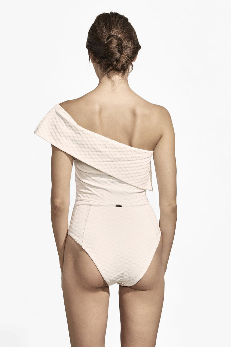 AMAIO SWIM Jeanne One Shoulder Textured One Piece Swimsuit - Ivory One Piece | Ivory| Amaio Swim Jeanne One Shoulder Textured One Piece Swimsuit - Ivory. Features:  One shoulder one piece swimsuit Cheeky-moderate coverage Mid cut legs Geometric Jacquard textured ivory fabric Back View