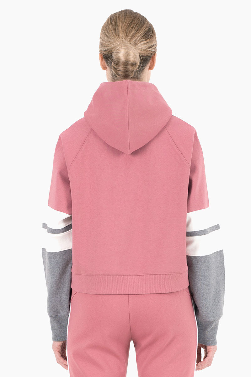 NYLORA Carson Hooded Color Block Drawstring Sweatshirt - Dusty Pink Top | Dusty Pink Combo| Nylora Carson Hoodie - Dusty Pink Combo. Features:   Hooded long sleeve sweatshirt  Drawstring detail  Color block sleeves  100% cotton  Back View