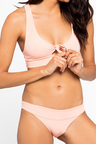 L SPACE Veronica Thick Band Bikini Bottom - Cherry Blossom Pink Bikini Bottom | Cherry Blossom Pink| L Space Veronica Thick Band Bikini Bottom - Cherry Blossom Pink Mid-rise banded ribbed cheeky bikini bottom in cherry blossom pink. Front View