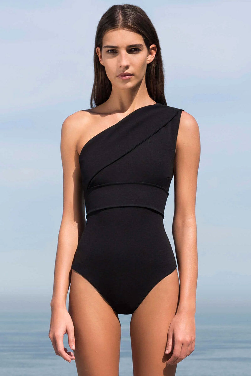 HAIGHT Maria One Shoulder One Piece Swimsuit - Black One Piece   Black  Haight Maria One Shoulder One Piece Swimsuit - Black Front View