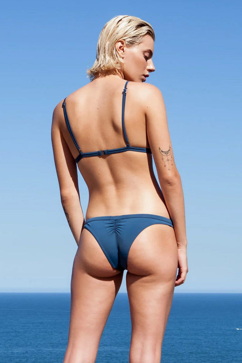 HAIGHT Taping Low Rise Bikini Bottom - Blue Ink Bikini Bottom | Blue Ink| Haight Taping Low Rise Bikini Bottom - Blue Ink Features:   Low rise  Hipster  Ruched back  Cheeky coverage Back View