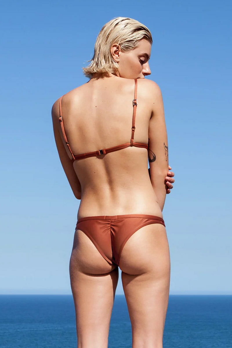 HAIGHT Taping Low Rise Bikini Bottom - Mocca Orange Bikini Bottom | Mocca Orange| Haight Taping Low Rise Bikini Bottom - Mocca Orange Low rise  Hipster  Ruched back  Cheeky coverage Back View