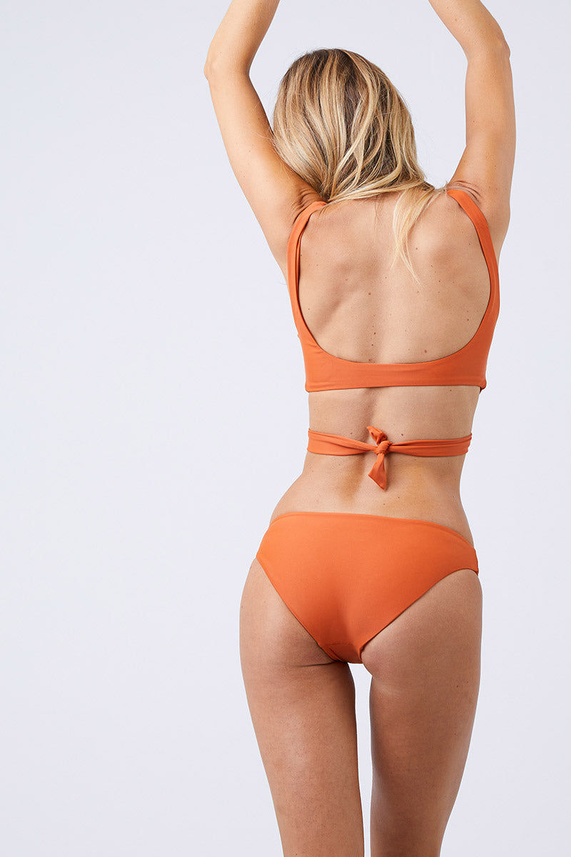 JADE SWIM Lure Hipster Bikini Bottom - Amber Bikini Bottom | Amber| Jade Swim Lure Hipster Bikini Bottom - Amber Hipster Full Coverage  Made in LA  78% Nylon, 22% Lycra Spandex Care  Hand wash, lay flat to dry Chlorine, oil and cream resistant Back View