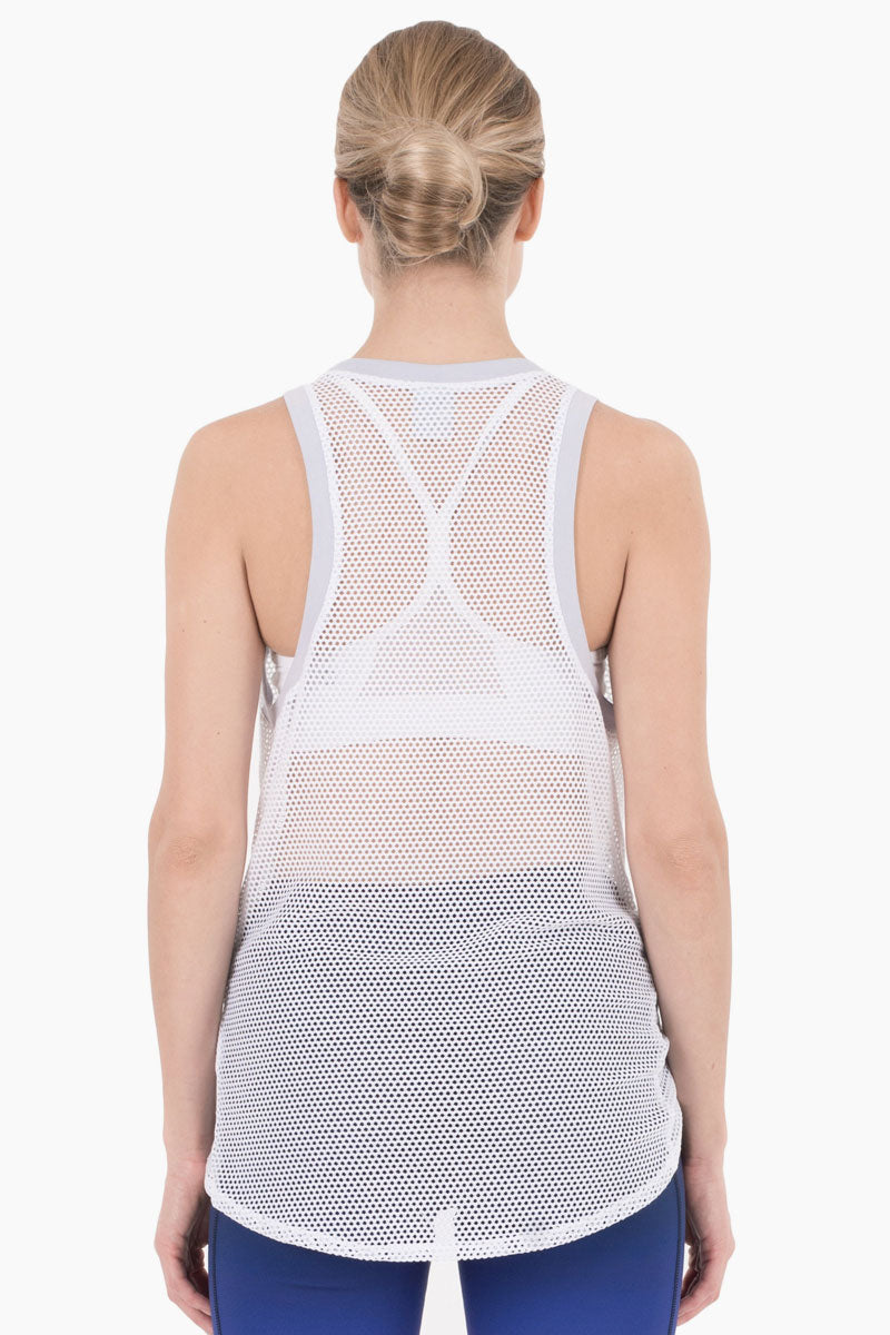 NYLORA Ethan Mesh Color Block Front Knot Tank - White/Lilac Purple Top | White/Lilac Purple| Nylora Ethan Mesh Color Block Front Knot Tank - White/Lilac Purple See through tank top  Front knot tie  Racerback Back View