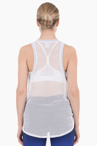 NYLORA Ethan Front Knot Tank - White/Lilac Top | White/Lilac| Nylora Ethan Front Knot Tank - White/Lilac See through tank top  Front knot tie  Racerback Back View