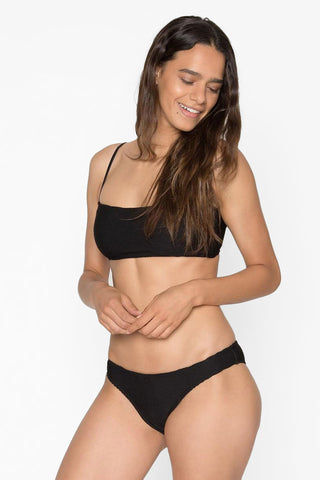 SEEA Laui Ribbed Low Rise Hipster Bikini Bottom - Onyx Black Bikini Bottom | Onyx Black| Seea Laui Ribbed Low Rise Hipster Bikini Bottom - Onyx Black Low rise  Hipster  Cheeky coverage  Ribbed Side View