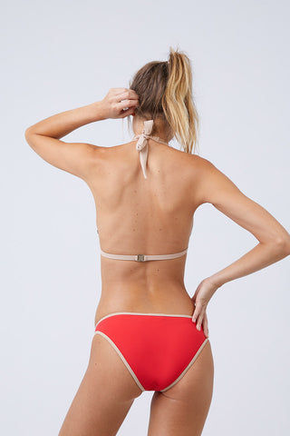 MOEVA Lucia Color Block Low Rise Full Bikini Bottom - Red & Nude Bikini Bottom | Red & Nude | MOEVA Lucia Color Block Low Rise Full Bikini Bottom - Red & Nude  Full coverage Low rise Fully lined 72% Polyamide, 28% Elastane Back View