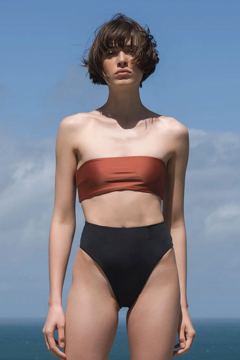 HAIGHT Marcella Bandeau Bikini Top - Mocca Orange Bikini Top | Mocca Orange| Haight Marcella Bandeau Bikini Top - Mocca Orange Bandeau  Strapless Back button closure Front View