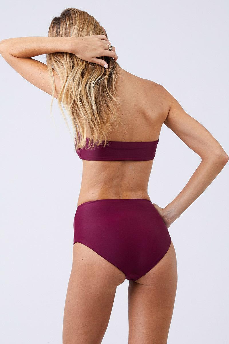 JADE SWIM Bound High Waisted Bikini Bottom - Fig Bikini Bottom   Fig  Jade Swim Bound High Waisted Bikini Bottom - Fig High Waisted High Cut Leg Moderate Coverage Back View