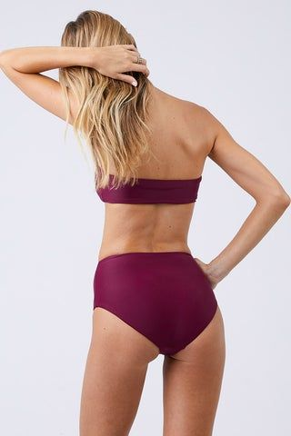 JADE SWIM Bound High Waisted Bikini Bottom - Fig Bikini Bottom | Fig| Jade Swim Bound High Waisted Bikini Bottom - Fig High Waisted High Cut Leg Moderate Coverage Back View