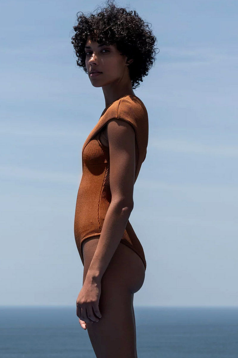 HAIGHT Tep One Shoulder Knit One Piece Swimsuit - Caramel Brown One Piece | Caramel Brown| Haight Tep One Shoulder Knit One Piece Swimsuit - Caramel Brown One shoulder one piece Fold over detail  Cheeky-moderate coverage Side View